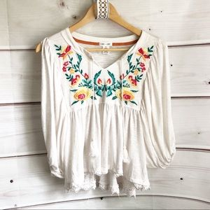 Clover & Scout boho embroidered top